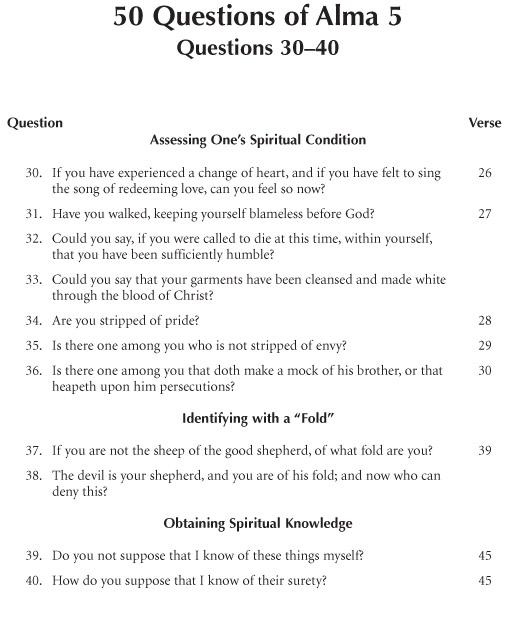 50 Questions Of Alma 5: Questions 30–40
