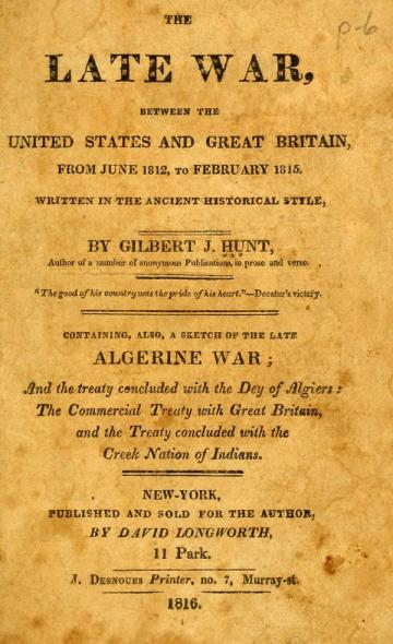 Book cover of The Late War Between the United States and Great Britain