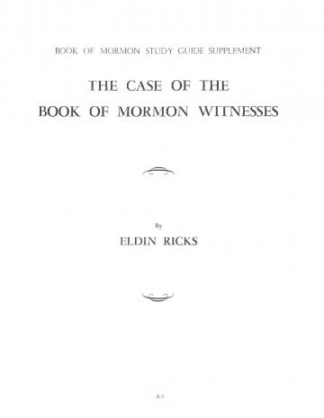 The Case of the Book of Mormon Witnesses