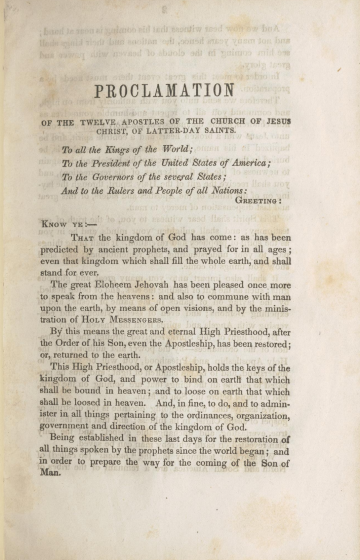 Proclamation of the Twelve Apostles of the Church of Jesus Christ of Latter-day Saints