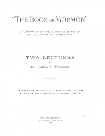 "Book cover of ""The Book of Mormon"": An Account of its Origin, with Evidences of its Genuineness and Authenticity"