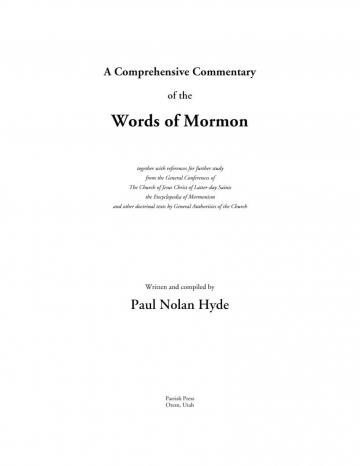 A Comprehensive Commentary of the Words of Mormon