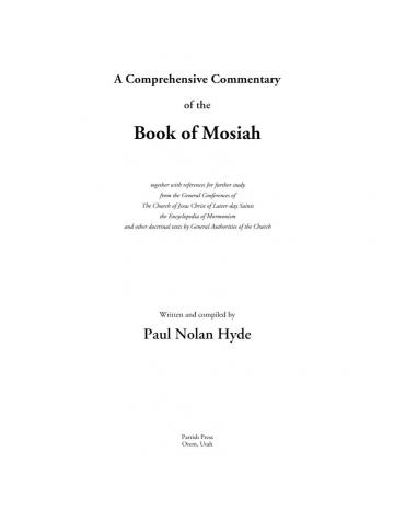 A Comprehensive Commentary of the Book of Mosiah