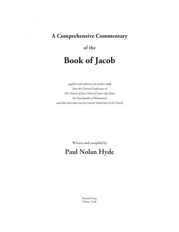 A Comprehensive Commentary of the Book of Jacob