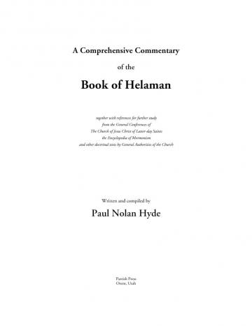 A Comprehensive Commentary of the Book of Helaman