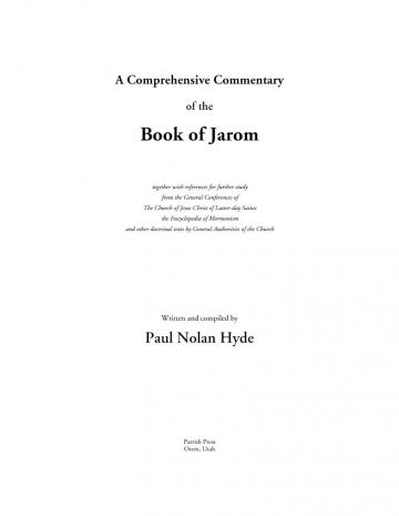A Comprehensive Commentary of the Book of Jarom