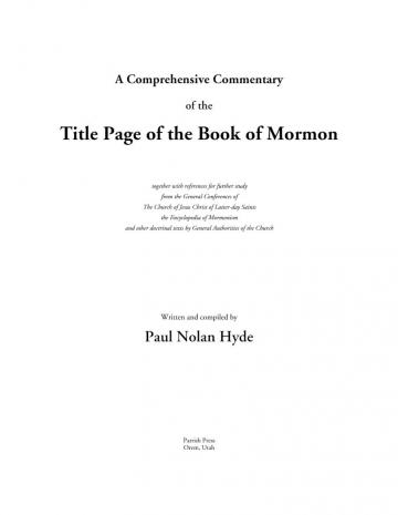 A Comprehensive Commentary of the Title Page of the Book of Mormon