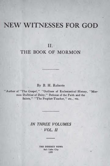 New Witnesses for God: Volume II - The Book of Mormon
