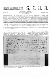 Cover of S.E.H.A. Newsletter